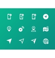 Navigator icons on green background vector image vector image
