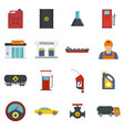 petrol station gas fuel shop icons set flat style vector image vector image