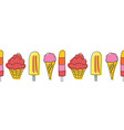 popsicle and ice cream seamless border vector image