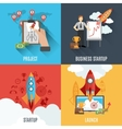 Rocket startup flat square composition poster vector image vector image
