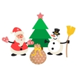 Santa Claus and Snowman cartoon vector image