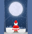santa claus standing alone on christmas night vector image vector image