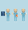 scrub suit surgeon set v1b vector image