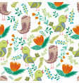 seamless pattern of birds and flowers vector image vector image