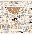 seamless pattern on coffee and tea theme vector image vector image