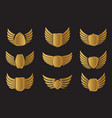 set golden wings widh shield and vector image vector image