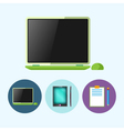 Set icons with laptop phone clipboard vector image vector image