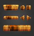 Set of wooden button for game design vector image