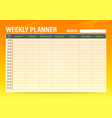 simple weekly schedule planner template with vector image vector image