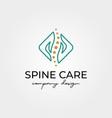 spine logo with hand symbol design vector image
