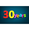 Thirty years paper sign vector image