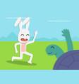 tortoise meet rabbit at forest cartoon vector image vector image