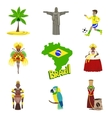 Traditional Brasilian Symbols With People Set vector image