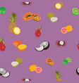 tropic exotic fruits purple seamless pattern vector image vector image