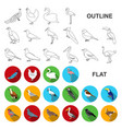 types of birds flat icons in set collection for vector image vector image