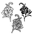 vintage victorian floral elements in black and vector image