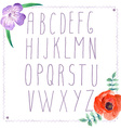 Watercolor alphabet with flowers in vintage style vector image vector image