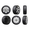 wheels realistic tyres road maintenance vector image