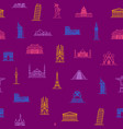 world landmarks signs thin line seamless pattern vector image vector image
