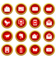 email icon red circle set vector image