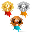 Medals Set Awards Symbols Isolated on White vector image