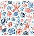 sea marine shells hand drawn seamles vector image