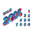 20 percent sale 0 1 2 3 4 5 6 7 8 9 isometric vector image vector image