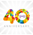 40 years bubbles ribbon colorful logo vector image vector image