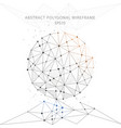 abstract globe polygonal wire frame on white vector image vector image