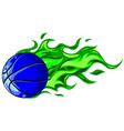 basketball ball in flame vector image vector image
