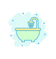 bath shower icon in comic style bathroom hygiene vector image