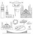 black and white istanbul tourist set vector image vector image