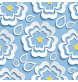 blue seamless pattern with 3d flowers sakura and vector image vector image