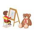 boy drawing teddy bear poster vector image