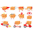 cardboard box character fast delivery service vector image