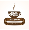 Coffee shop trendy background with coffee cup vector image vector image