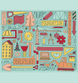 colorful doodle set with construction vector image vector image