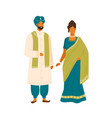 couple in national india costume flat vector image vector image