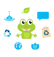 cute green cartoon frog icon vector image vector image