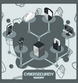 cybersecurity color concept isometric icons vector image vector image