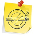 doodle sticky note smoking no vector image vector image