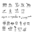 doodles of objects in garden and living room vector image vector image