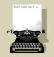 drawing of old typewriter with a paper in black vector image vector image