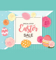 easter sale cute background with flowers and eggs vector image