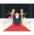 Fat famous man with his thin girlfriends on the vector image