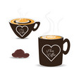 flat set icon beans and cup of coffee vector image vector image