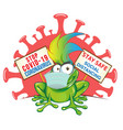 frog cartoon with mask on signboard against vector image vector image
