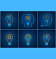 gear head lightbulb creative teamwork concept set vector image