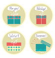 gift boxes set color presents with text isolated vector image vector image