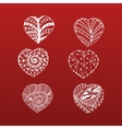Hand Drawn Valentines Day doodle Hearts Set vector image